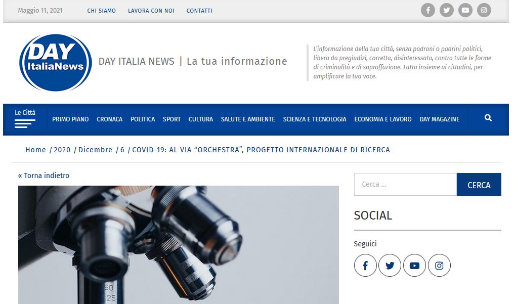 """COVID-19: AL VIA """"ORCHESTRA"""", PROGETTO INTERNAZIONALE DI RICERCA"""